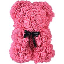 OEM 10 inch new Mothers day gift artificial Rose teddy bear flower for sale
