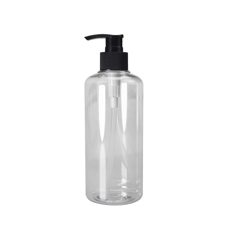 OEM Universal Travel Portable transparent plastic empty PET 400ML pump round shampoo bottle