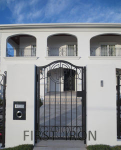 Elegant single entry gates wrought iron pedestrian steel gates