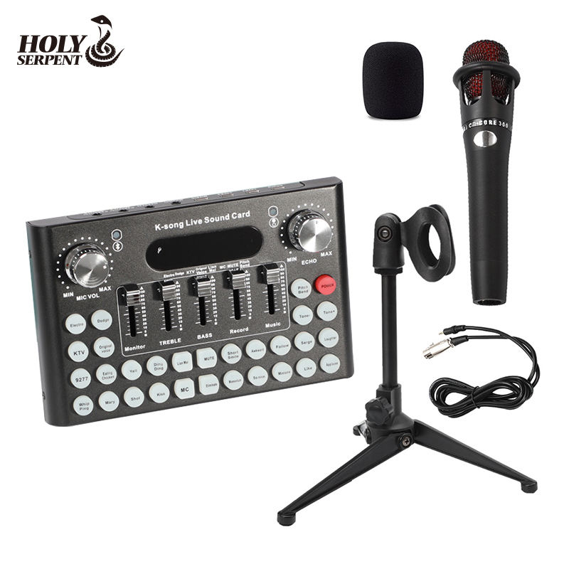F007 Dropshipping Funny Sound Card Mixer External USB Microphone Family K-song Live Sound Card