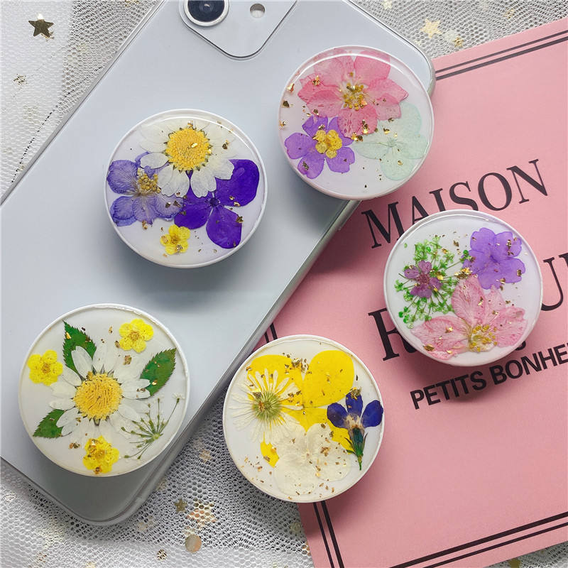 universal phone holder expanding mobile socket real dried flower phone stand art craft gift OEM for phone grip
