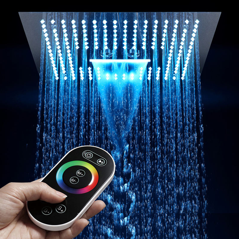 HIDEEP Shower Bathroom 64 Color LED Showerhead Misty Waterfall Shower Ceiling 16 Inch Remote Control Light Rain Led Shower Head
