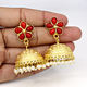 Exotic Selling Synthetic Red Coral & Pearl Earring Brass Gold Plated Hanging Dangling Women Designer Wedding Engagement Jhumki