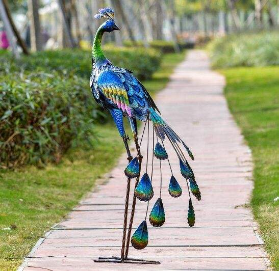 35inch Metal Decorative Peacock Standing Art Garden Sculpture Decor, Garden Statue