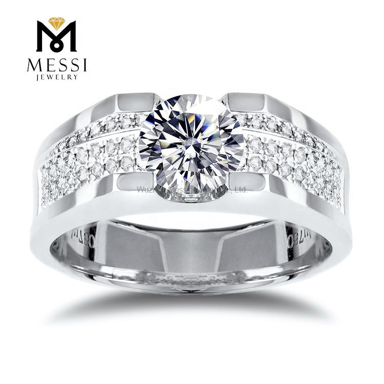 Messi Sieraden 1ct Moissanite Gouden Ring Engagement Wedding Bands In 14K/18K Wit Goud <span class=keywords><strong>Mannen</strong></span> Moissanite Ring