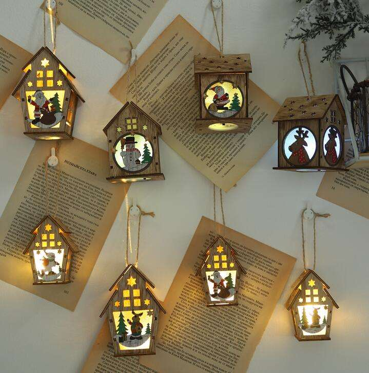 Christmas Ornaments LED Light Cabin DIY Christmas Wood House Tree Decoration Pendant Interior Decoration