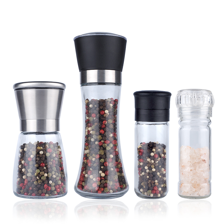 Best price manual disposable spice salt pepper mill, wholesale 80ml 100ml glass plastic spice salt pepper grinder