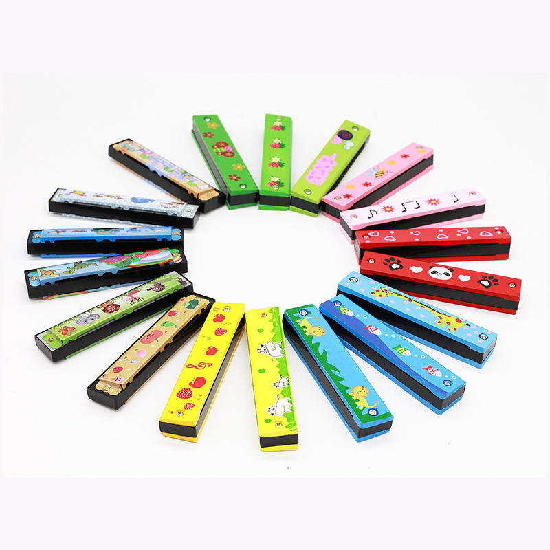 factory price children's wooden musical instrument early education creative toy 16 holes harmonica switchable mouth organ