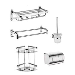 Modern design perfect detail wall hung mounted chrome bath set 304 stainless steel toilet bathroom accessories sets