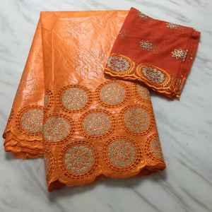 AF71400 Orange color African 5yards cotton bazin riche getzner fabric styles with net lace fabric 2yards