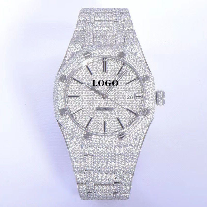 Taucher Wasserdichte Uhr Saphirglas Glass piegel Cal.4302 Uhrwerk 15500 41mm Kristall Gypsophila Royal Offshore AP Diamond w