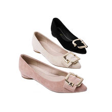 Ladies Microfiber Pumps Sexy Pointed Toe Round Heel Tacones Flat Shoes For Women