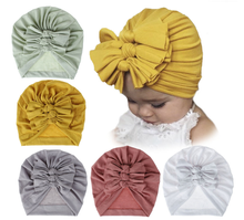 Soft knitting cotton fabric 3 bow knot Indian baby turban hat