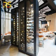restaurant stainless steel red wine rack hotel luxury wall mounted wine cabinet bar wine storage display