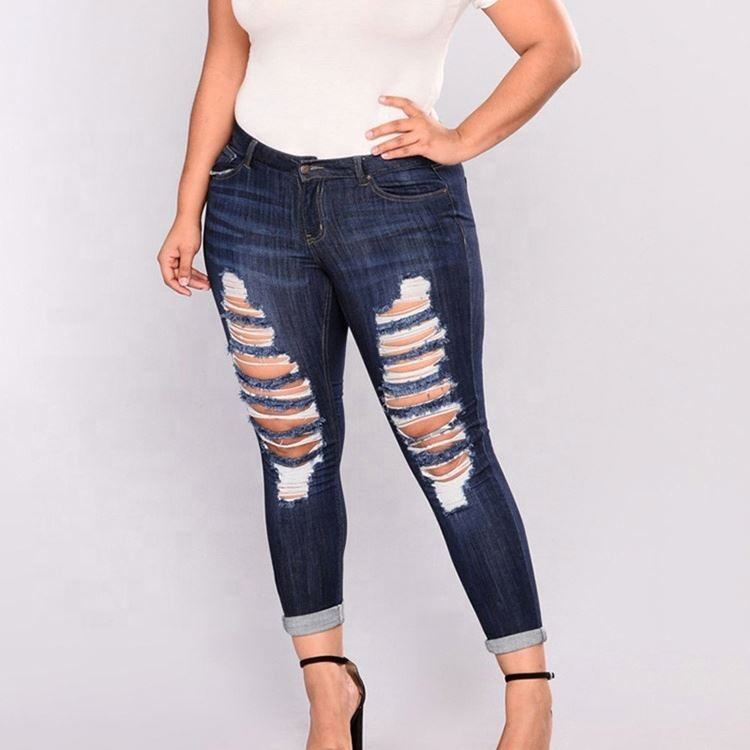 High Waist Hole Leg Skinny Women Plus Size Distressed Jeans