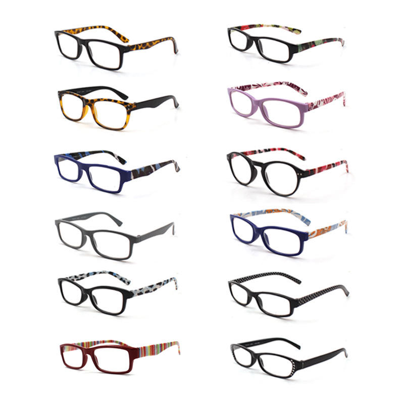 36 Pack Promotion Cheap Fashion Pattern Mens Reading Glasses Womens Rhinestone Plastic Reading Glasses For Store Shop