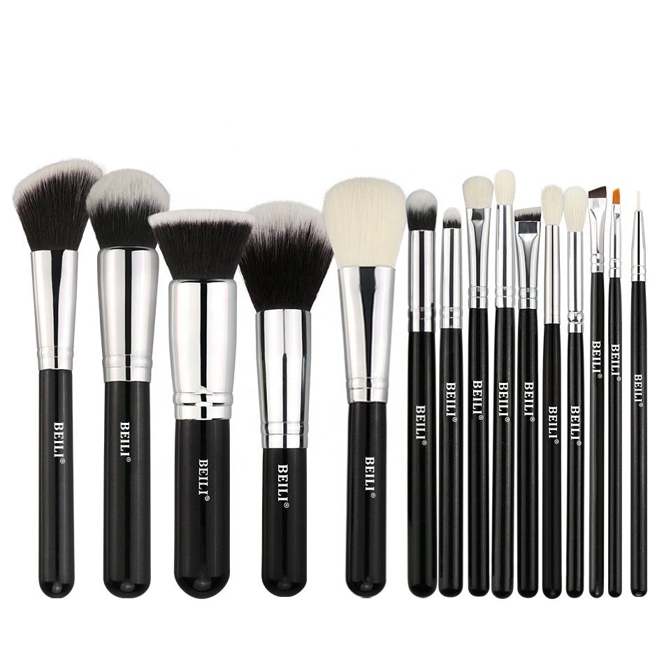 Beili Merek Hitam/Perak Kosmetik Makeup Brushes Set Alat Kit 15 PCS Bahan Rambut Sintetis Private Label Make Up kuas