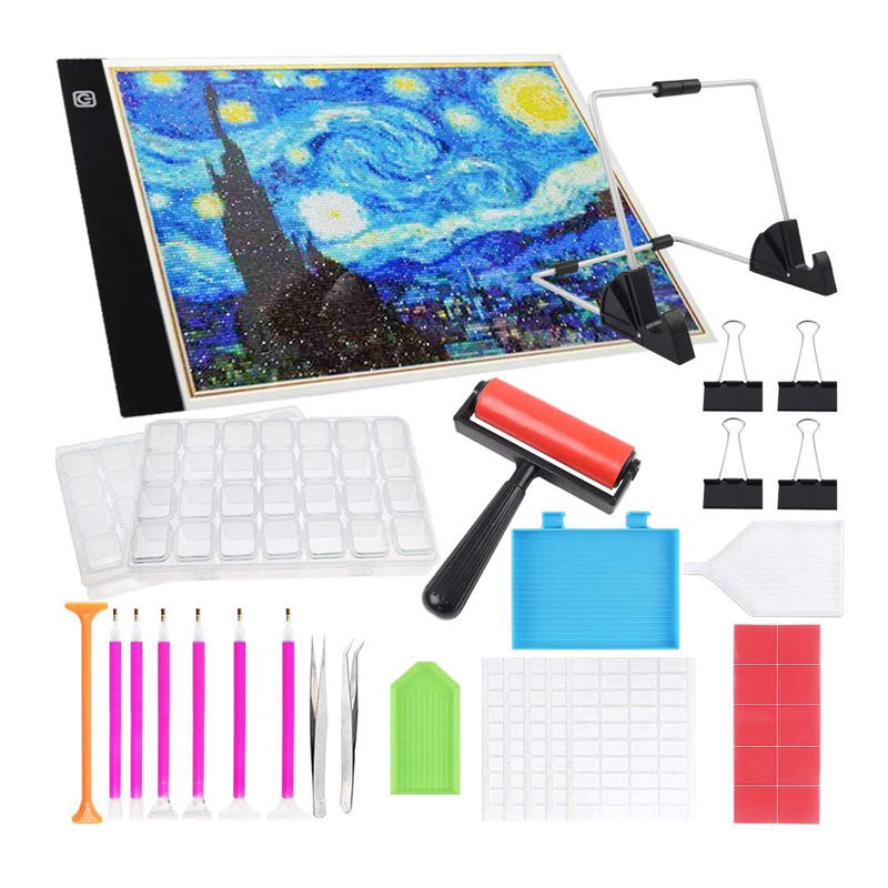 Hot Selling A4 Size LED Light Pad Diamond Painting Tool Kit With Stand And Diamond Painting Roller