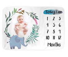 2020 China Factory Super Soft Customized Girl Boy Infant Fleece Flannel Polyester Elephant Photo Baby Monthly Milestone Blanket