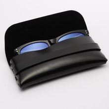 Custom logo ready stock leather black sunglasses case