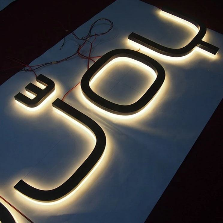 name board 3d small metal ultra thin led backlit sign numbers for advertising signage