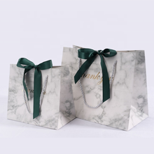 Marble pattern art paper bag custom own logo stationery party shopping package paper bag with handles