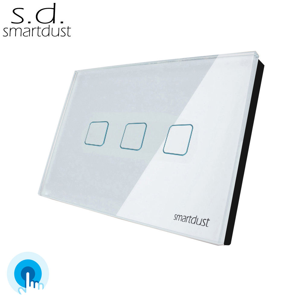 Smartdust US Standard 3 Gang 1 Way Sensitive Crystal Glass Panel Electric Interruptor Wall Touch Screen Light Switch