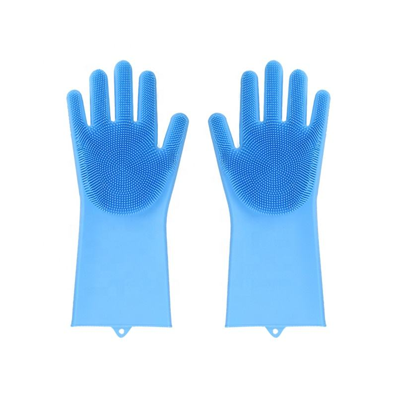 Kitchen Dishwasher Finger Tips Gloves Silicone Cleaning Scrubber Dish Washing Sponge Gloves