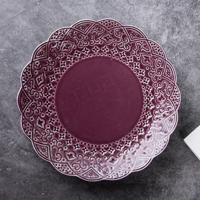 Purple 8 Inch Porcelain Embossed Round Tray Food Dish Snack Salad Plate Ceramic Tableware Stackable Party Hotel HouseholdHotel