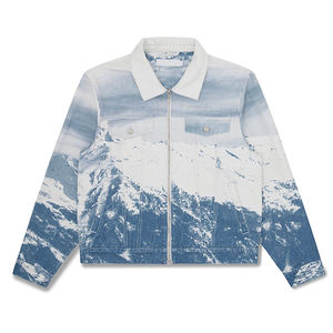 Full over digital printed mens cotton twill denim jacket