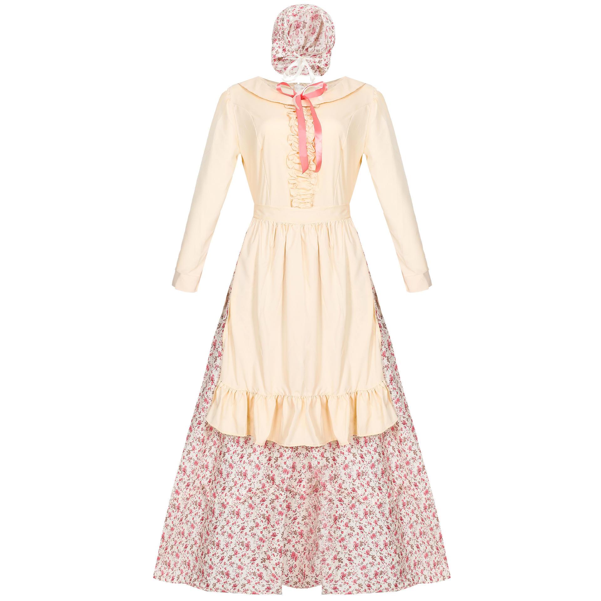 Kids Girls Halloween Victorian Colonial Dress Cosplay Costume Rural Dress Apron