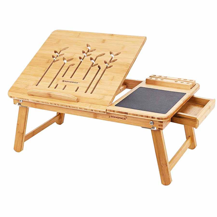 SONGMICS Folding Adjustable Writing Computer Laptop Breakfast Tray Desk Bamboo Bed Desk Table
