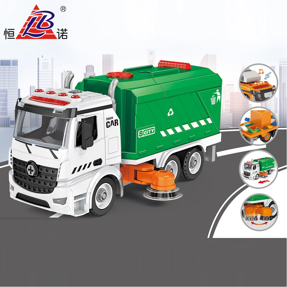 Garbage Truck Toy Friction Powered For Boys Friction Truck Toys With 10P