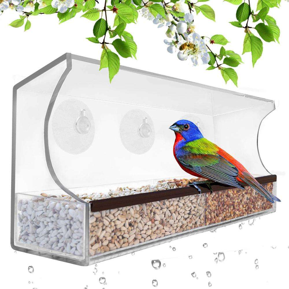 Top Garden Acrylic Window Bird Feeder with Strong Suction Cups and Seed Tray and Great Gift for Wild Birds