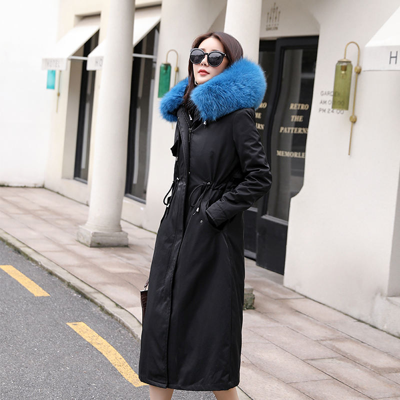 Factory Direct Wholesale leather jacket parka fur hood faux fur lined utility parka coat women fur parka