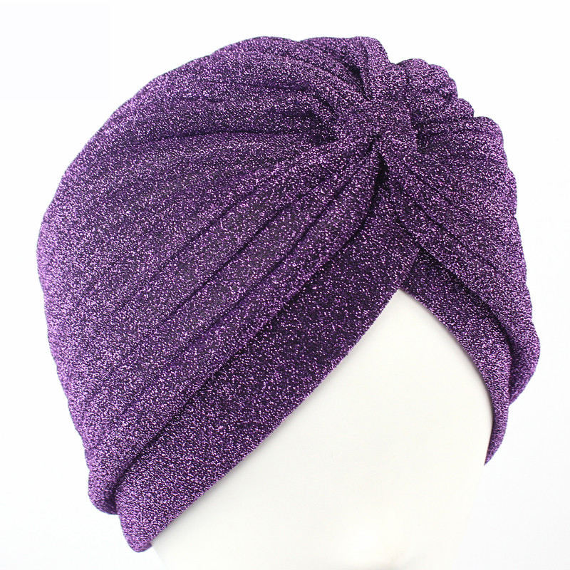Luxury stretchable glitter chemo beanie fashion hair loss turban twisted pleated headwrap