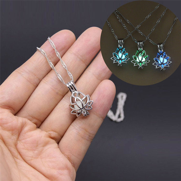 Luminous Glowing In The Dark Moon Lotus Flower Shaped Pendant Necklace For Women Yoga Prayer Buddhism Jewelry