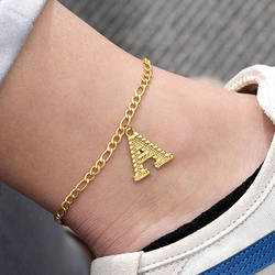 Fashion Design A-z Letter Pendant Anklets Jewellery Foot Jew