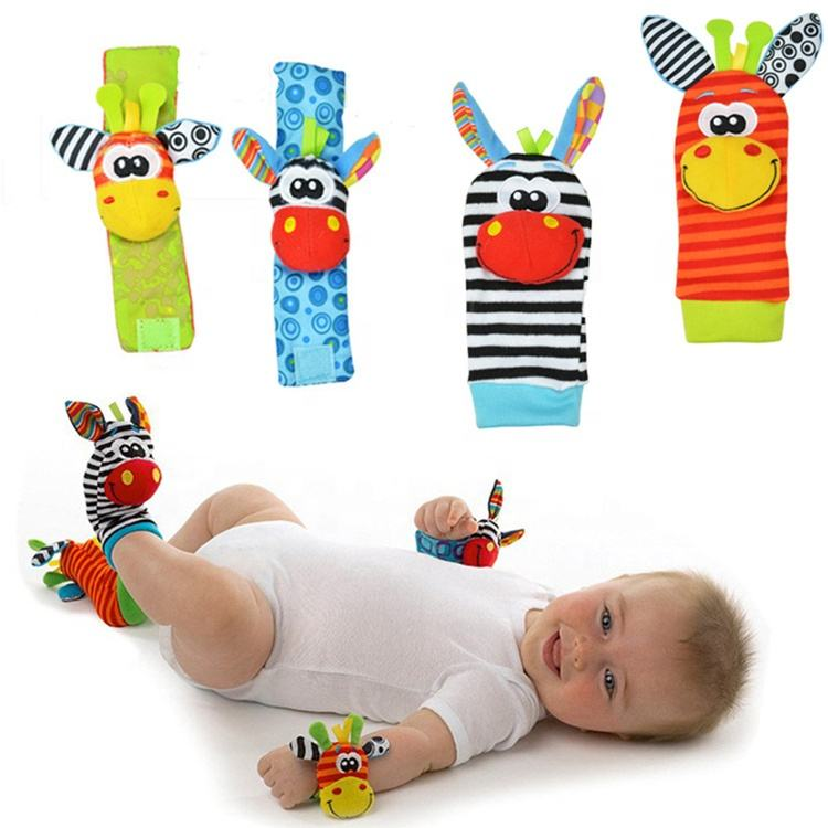 Cute cartoon animal infant soft squeak plash other baby toys foot socks wrist rattle