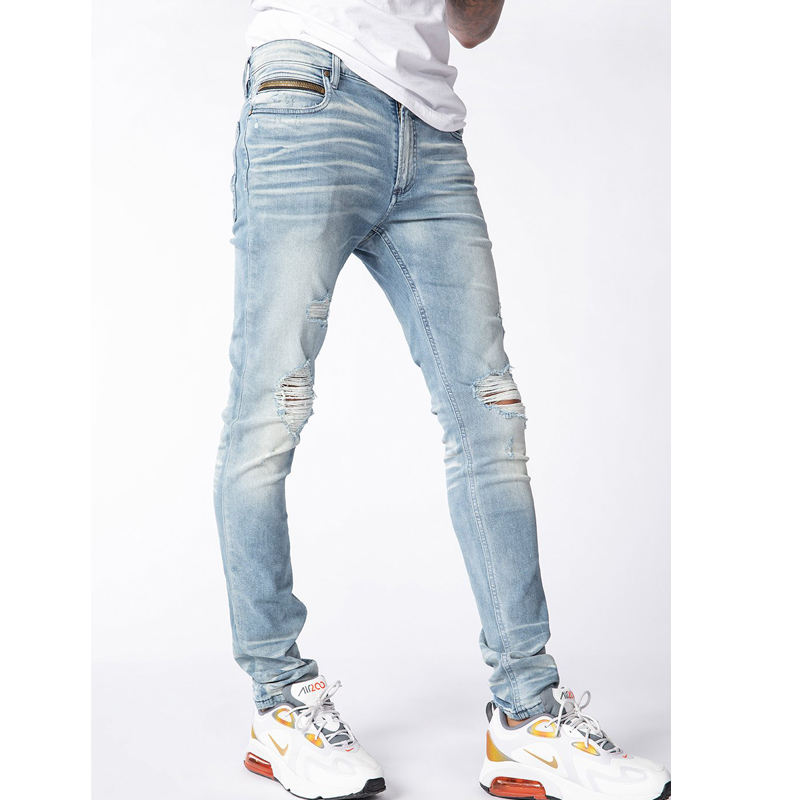 DiZNEW OEM/ODM men jeans Pocket zipper ripped knee men's jeans