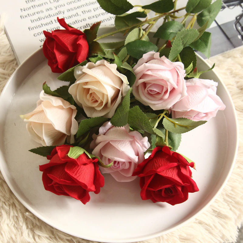 K-008 Wholesale Wedding Decor Fake Plastic Single Stem Red White Dusty Pink Rose Silk Artificial Velvet Rose Flowers Velvet Rose