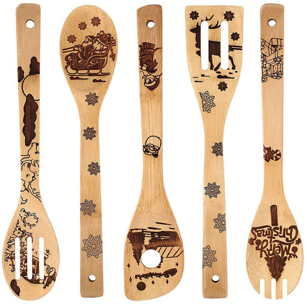 5 pcs/lot Wooden Spoons Set Christmas Spatula Spoon Set Nonstick Kitchen Utensil Natural Cooking Bamboo Utensil Set