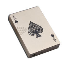 Creative Poker-Shaped Flame Metal Lighter Windproof Butane Gas Cigarette Lighters with UV Lamp Novelty Gadget NO GAS