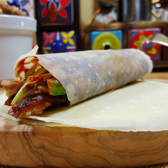 Chinese food Peking duck crepe wraps
