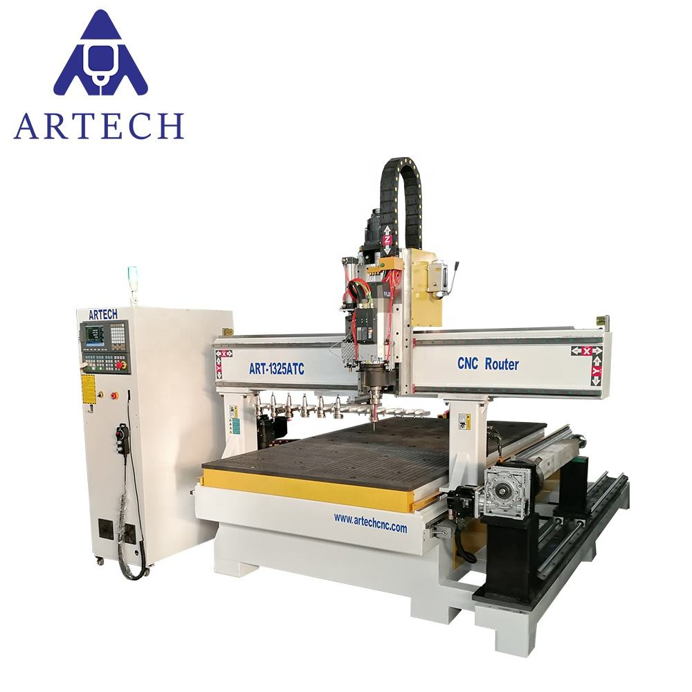 Best price ARTECH 4 axis 1325 atc wood cnc router engraving machine with rotary for furniture making made in china