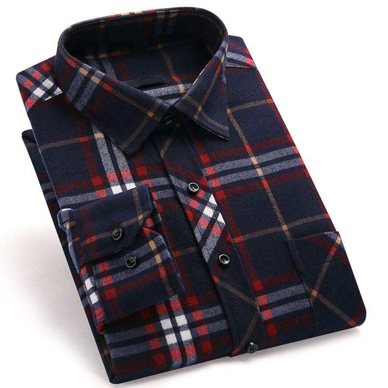 men's casual long sleeves brush y/d check shirts