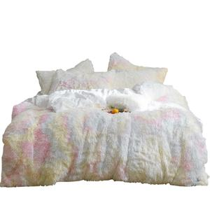 Luxury Custom Winter Warm 100 Polyester White Faux Fur Velvet Fluffy Bedding Bed Duvet Comforter Quilt Cover Set