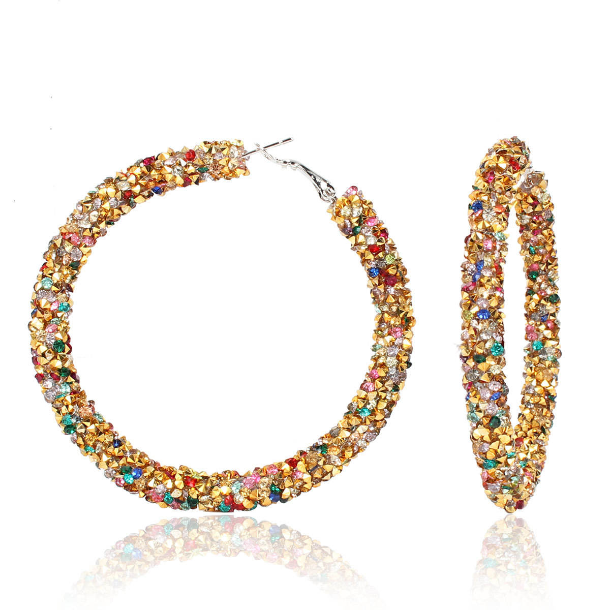 Fashion Hoop Earrings For Women Color Bling bling Round Geometric Statement Earrings Jewelry For Wedding Party