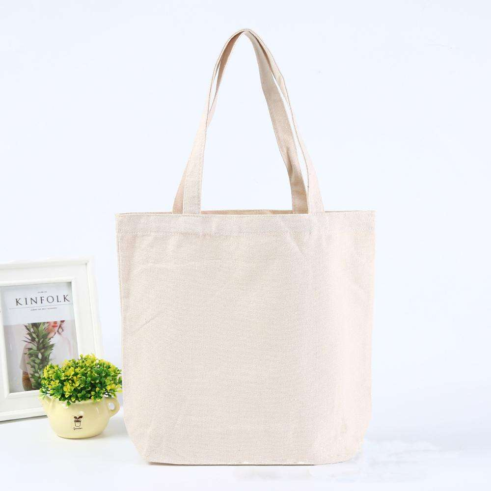 Custom Personalized White Cotton Canvas Fabric Tote Bag