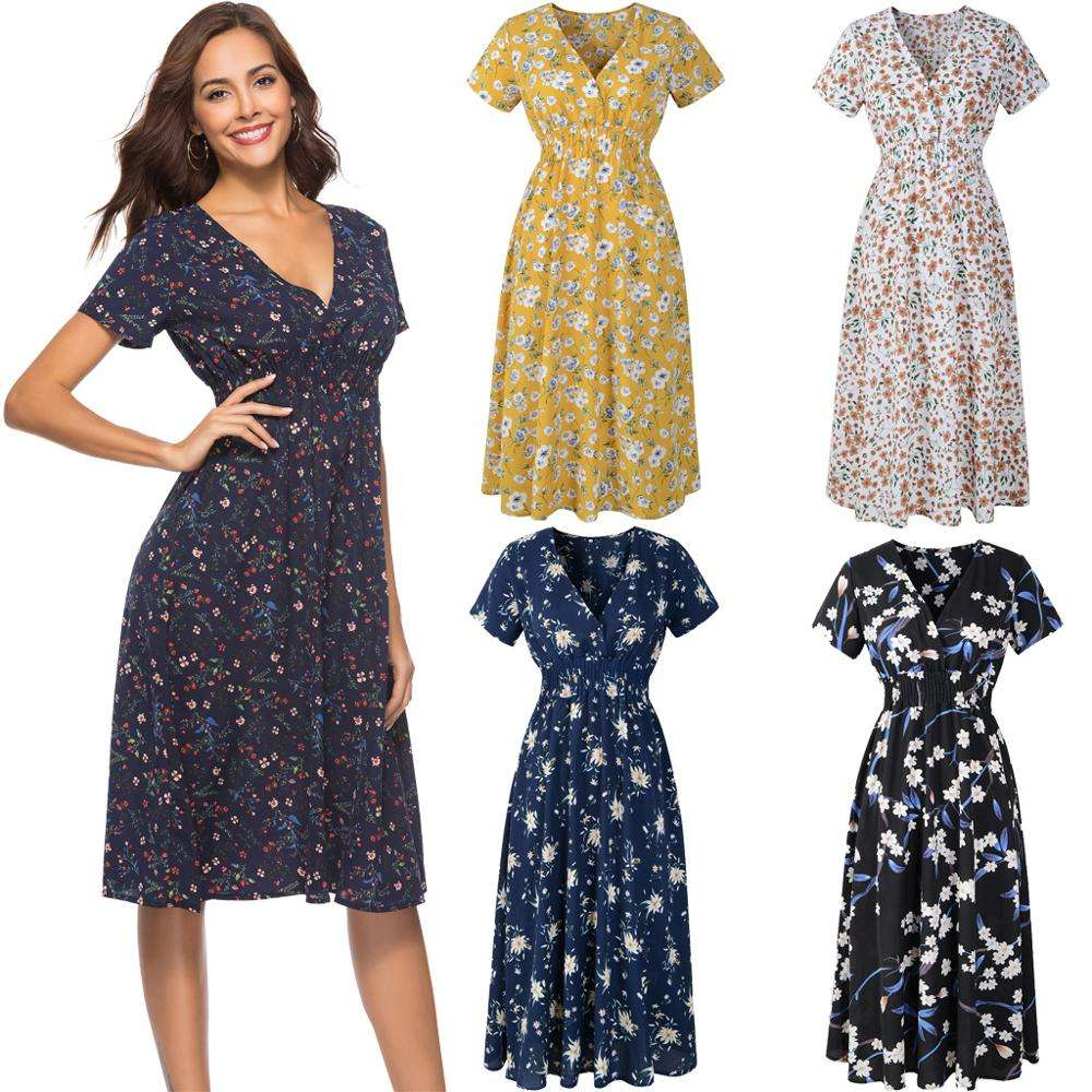 Elegant V-neck Women High Waist Floral Print Female Long Loose Lady Summer Short Sleeve Wrap Casual Dress